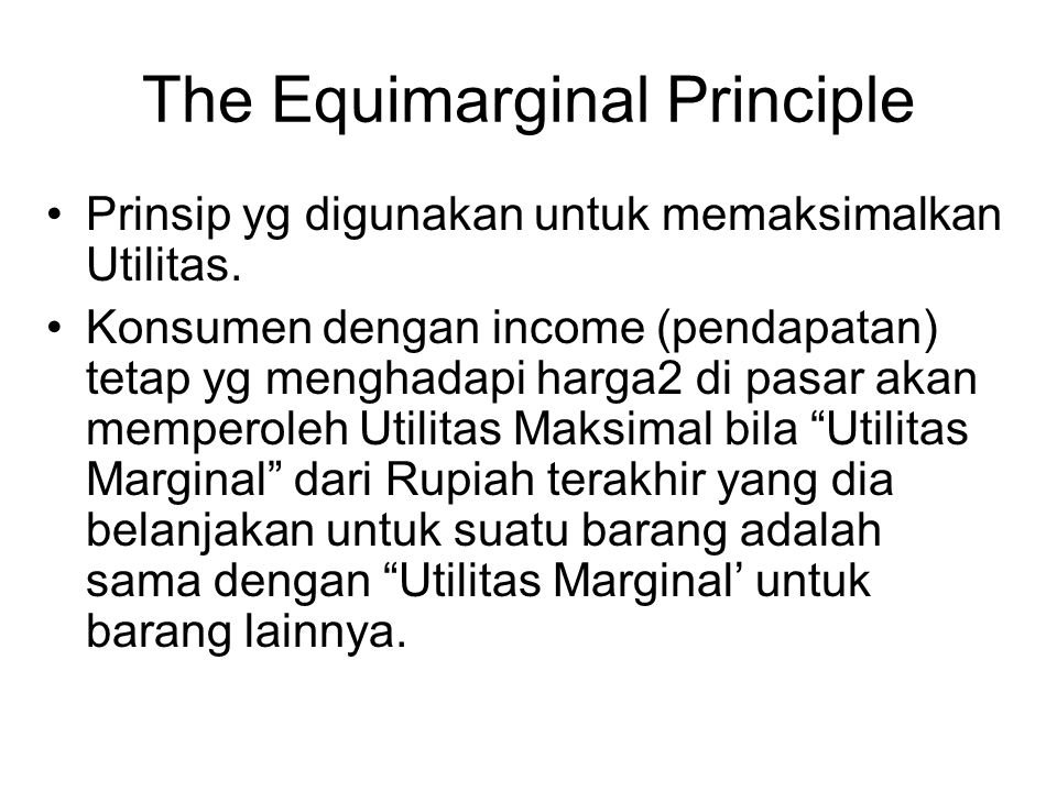 The Equimarginal Principle
