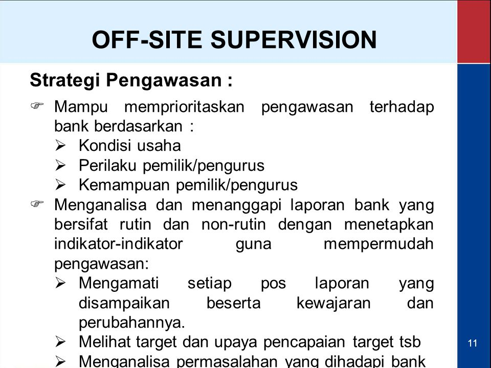 OFF-SITE SUPERVISION Strategi Pengawasan :