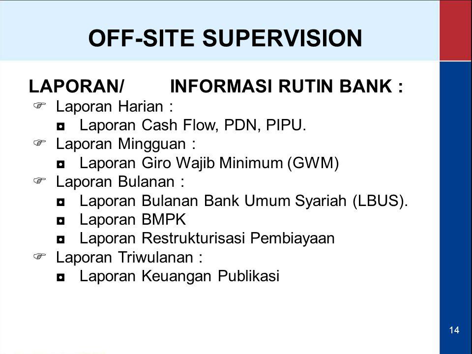 OFF-SITE SUPERVISION LAPORAN/ INFORMASI RUTIN BANK : Laporan Harian :