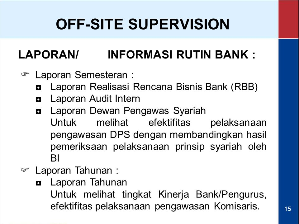 OFF-SITE SUPERVISION LAPORAN/ INFORMASI RUTIN BANK :