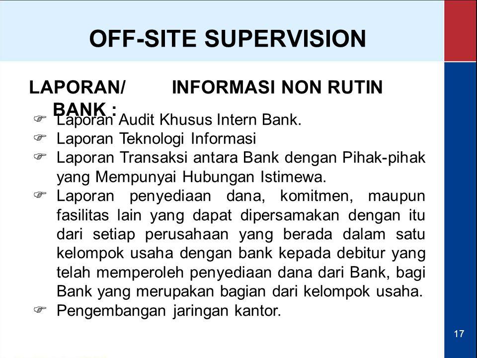 OFF-SITE SUPERVISION LAPORAN/ INFORMASI NON RUTIN BANK :