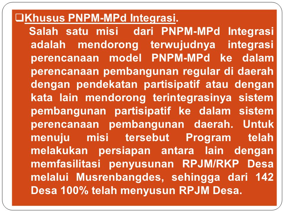 Khusus PNPM-MPd Integrasi.