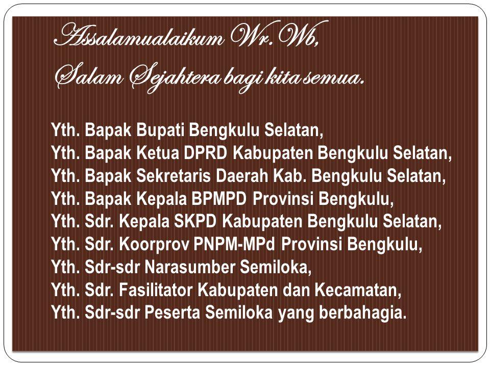 Assalamualaikum Wr. Wb, Salam Sejahtera bagi kita semua. Yth