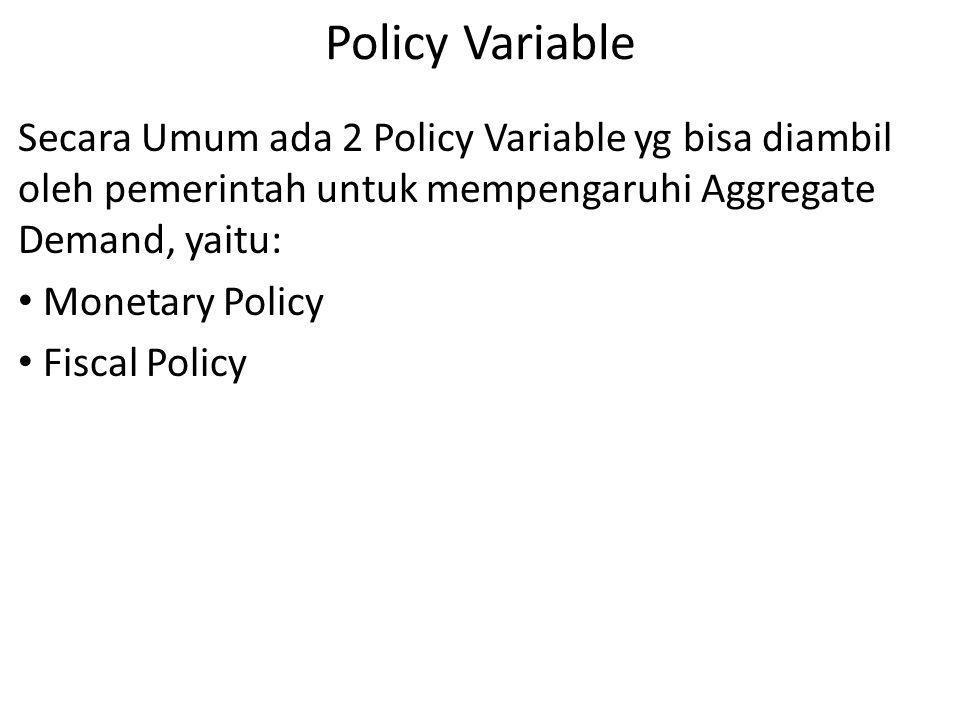 Policy Variable Secara Umum ada 2 Policy Variable yg bisa diambil oleh pemerintah untuk mempengaruhi Aggregate Demand, yaitu: