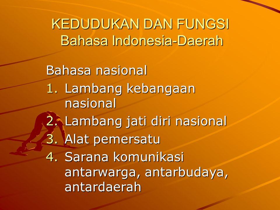 KEDUDUKAN DAN FUNGSI Bahasa Indonesia-Daerah