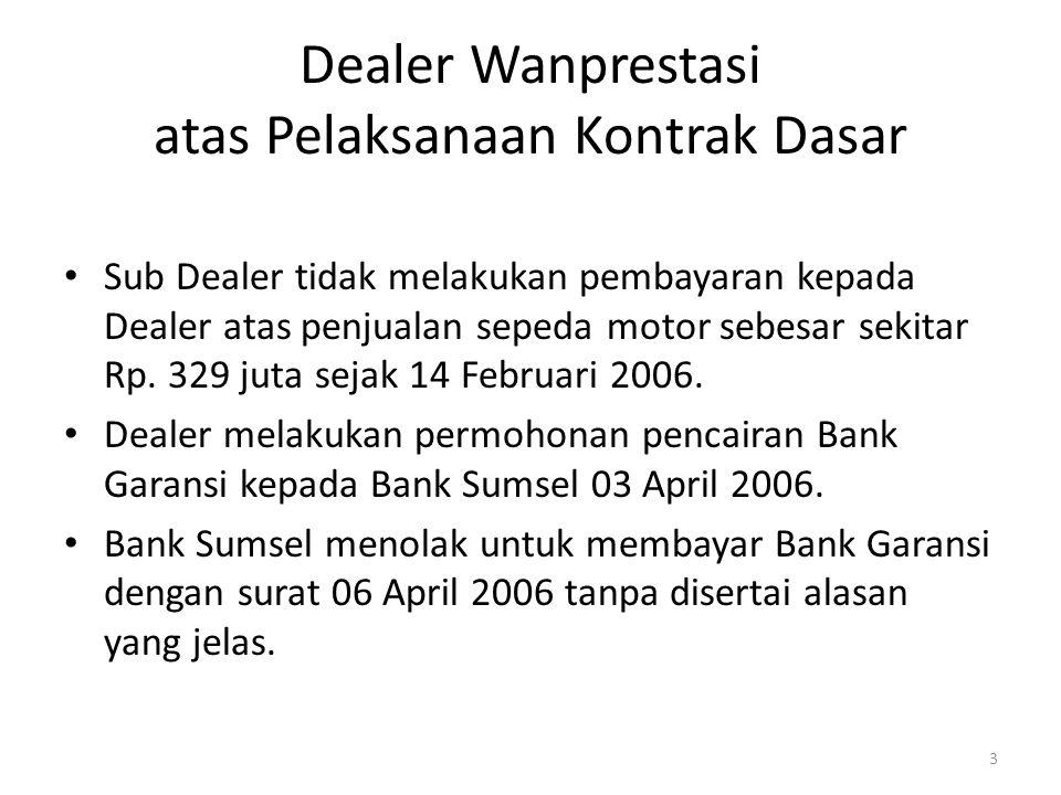 Dealer Wanprestasi atas Pelaksanaan Kontrak Dasar