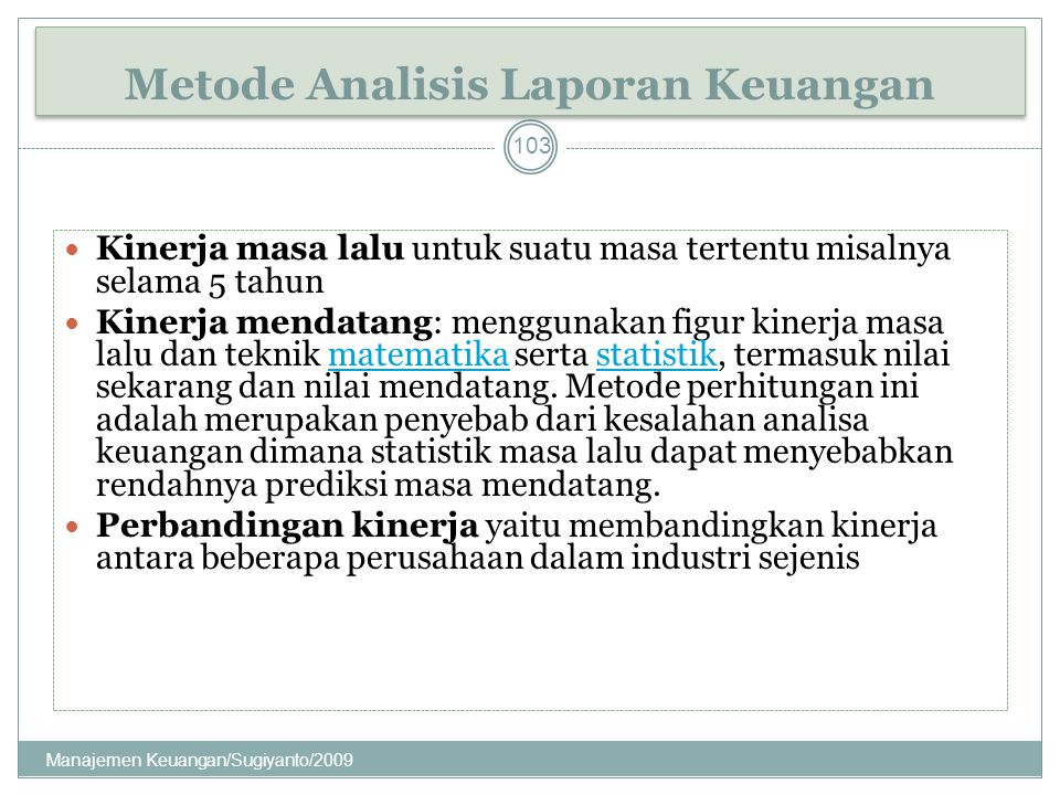 Metode Analisis Laporan Keuangan