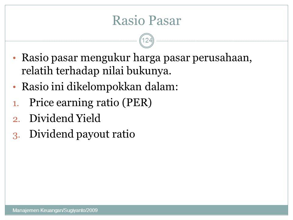 Rasio Pasar Rasio pasar mengukur harga pasar perusahaan, relatih terhadap nilai bukunya. Rasio ini dikelompokkan dalam: