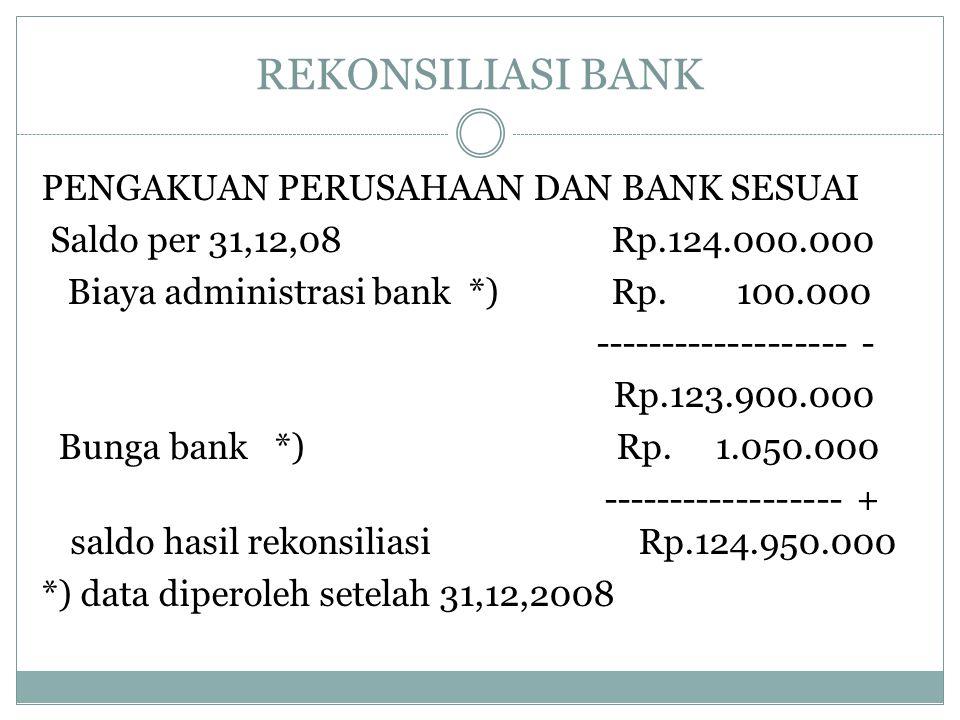 REKONSILIASI BANK PENGAKUAN PERUSAHAAN DAN BANK SESUAI