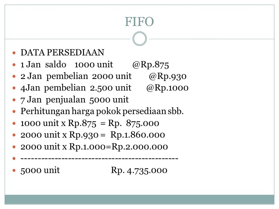 FIFO DATA PERSEDIAAN 1 Jan saldo 1000