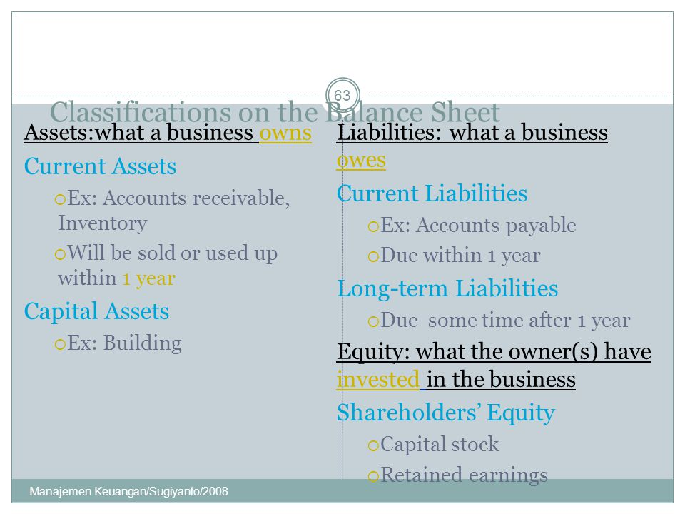 Classifications on the Balance Sheet