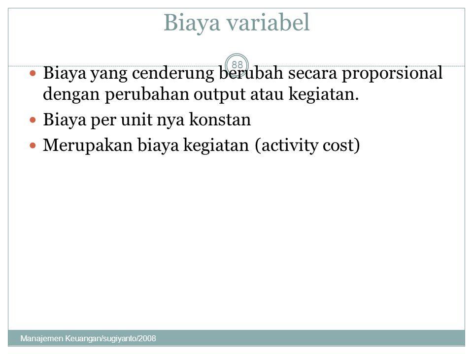 Biaya variabel Biaya yang cenderung berubah secara proporsional dengan perubahan output atau kegiatan.