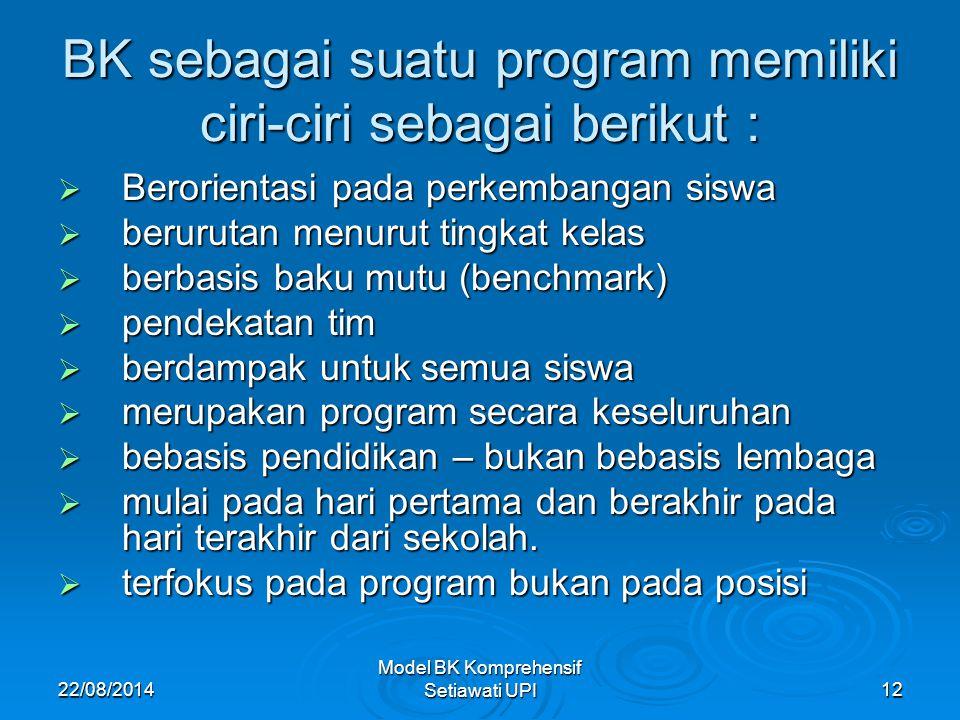BK sebagai suatu program memiliki ciri-ciri sebagai berikut :