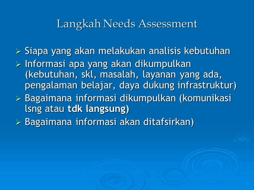 Langkah Needs Assessment