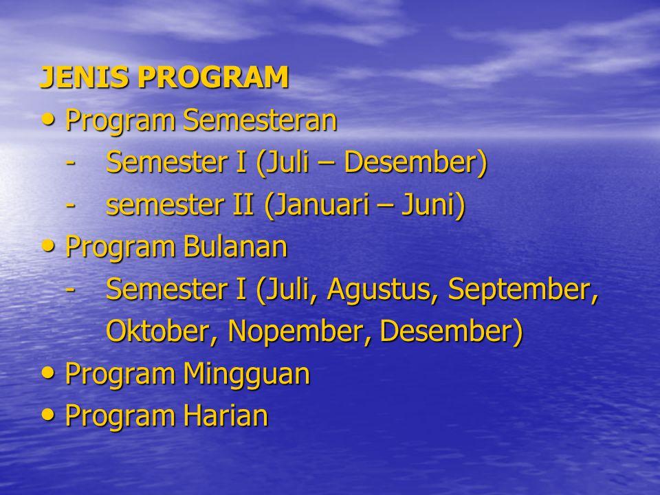 JENIS PROGRAM Program Semesteran. - Semester I (Juli – Desember) - semester II (Januari – Juni) Program Bulanan.