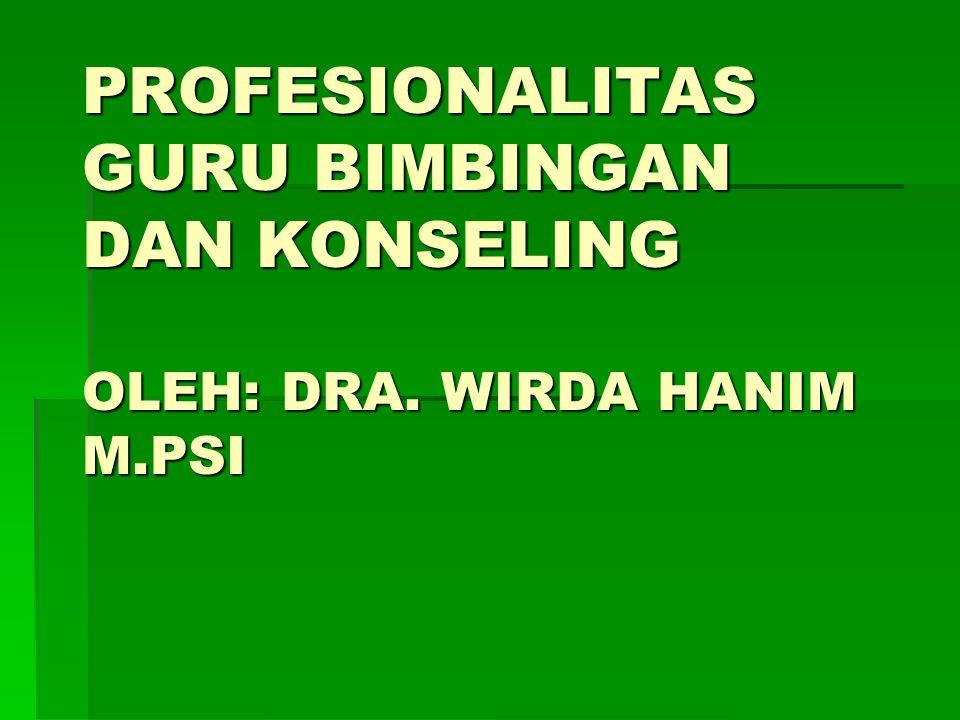PROFESIONALITAS GURU BIMBINGAN DAN KONSELING OLEH: DRA. WIRDA HANIM M