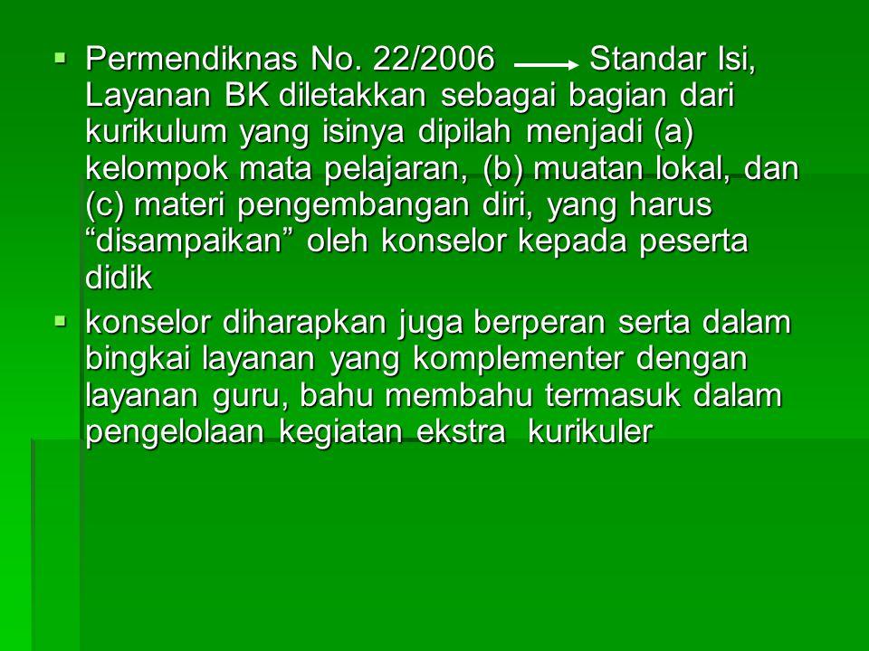 Permendiknas No. 22/2006 Standar Isi, Layanan BK diletakkan sebagai bagian dari kurikulum yang isinya dipilah menjadi (a) kelompok mata pelajaran, (b) muatan lokal, dan (c) materi pengembangan diri, yang harus disampaikan oleh konselor kepada peserta didik