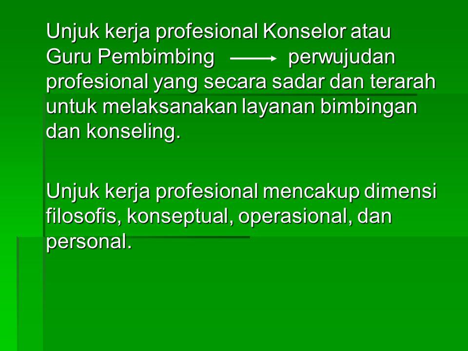 Unjuk kerja profesional Konselor atau Guru Pembimbing perwujudan profesional yang secara sadar dan terarah untuk melaksanakan layanan bimbingan dan konseling.