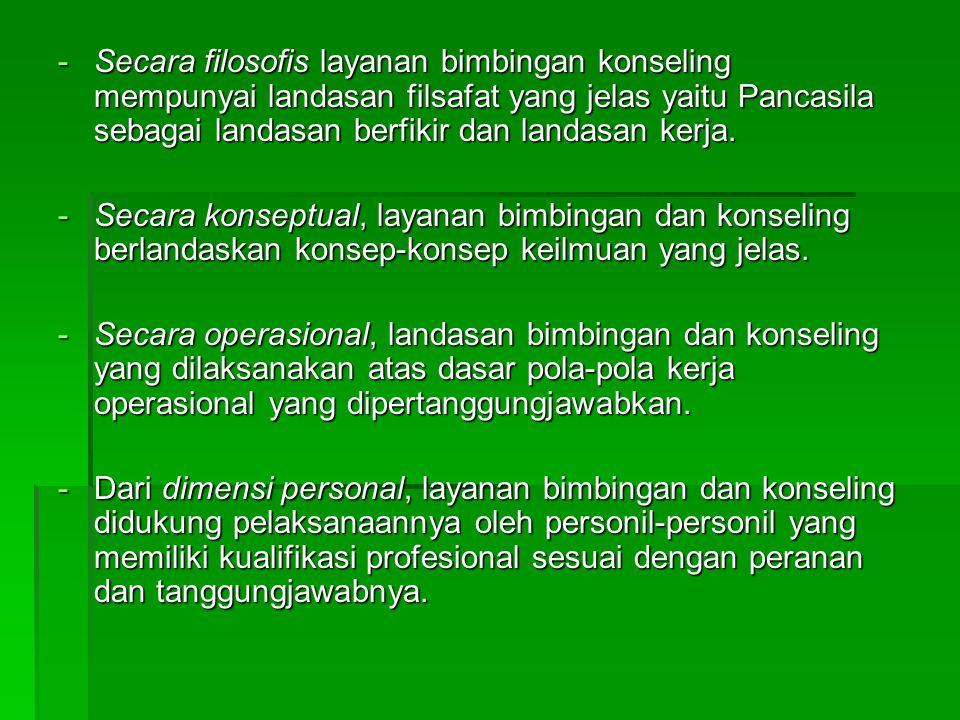 Secara filosofis layanan bimbingan konseling mempunyai landasan filsafat yang jelas yaitu Pancasila sebagai landasan berfikir dan landasan kerja.