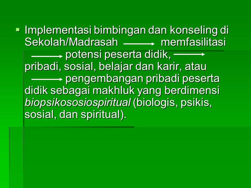 Implementasi bimbingan dan konseling di Sekolah/Madrasah memfasilitasi