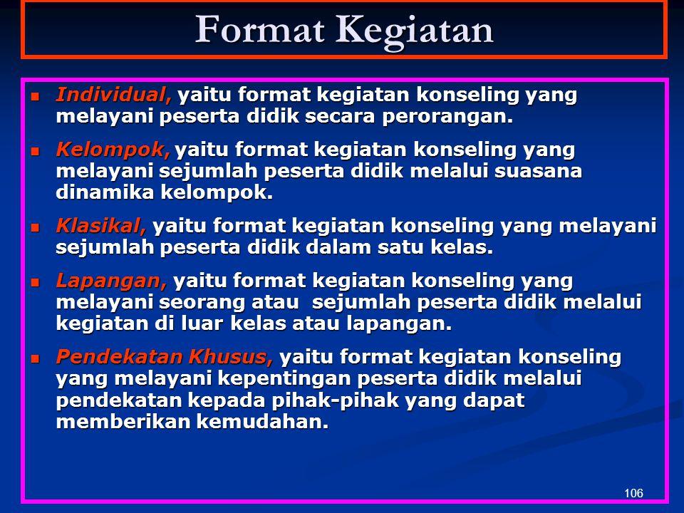 Format Kegiatan Individual, yaitu format kegiatan konseling yang melayani peserta didik secara perorangan.