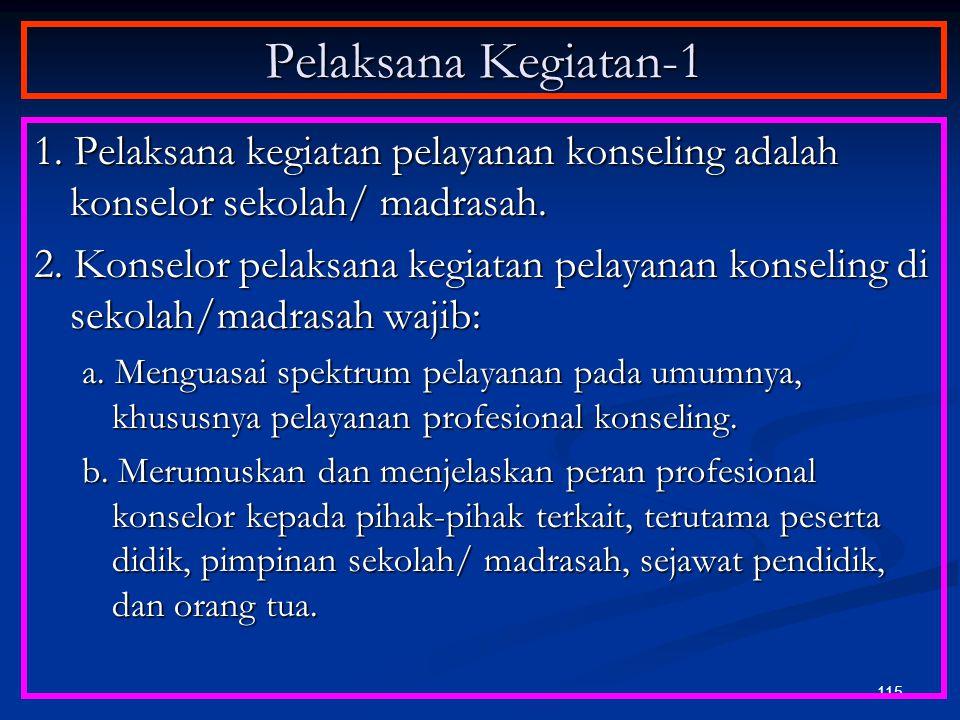 Pelaksana Kegiatan-1 1. Pelaksana kegiatan pelayanan konseling adalah konselor sekolah/ madrasah.
