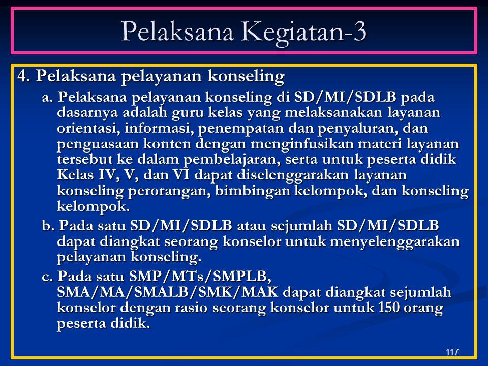 Pelaksana Kegiatan-3 4. Pelaksana pelayanan konseling
