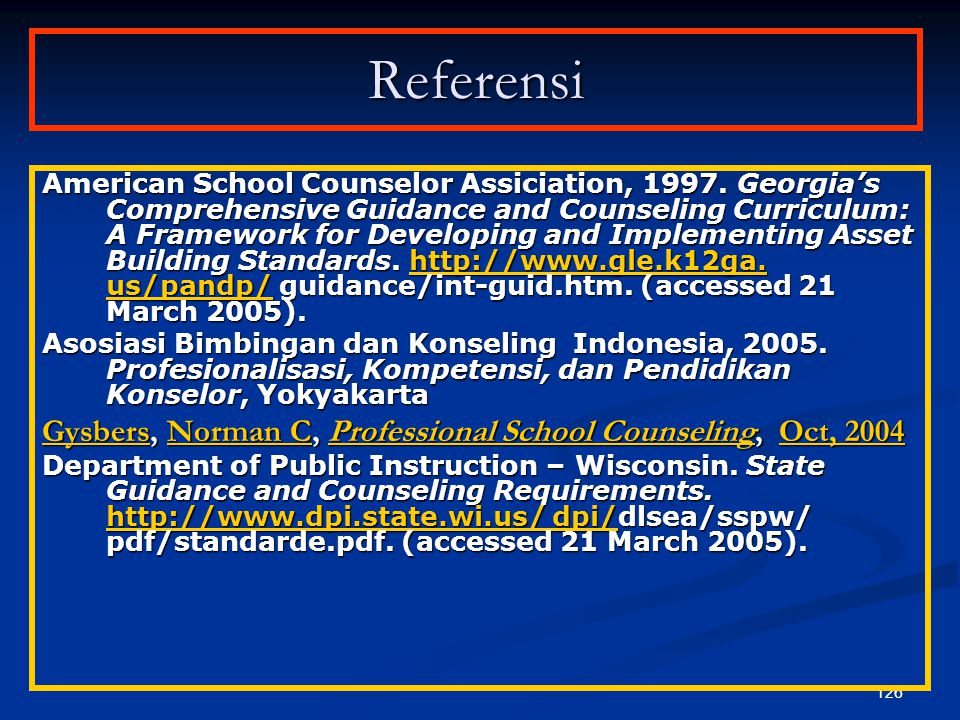 Referensi Gysbers, Norman C, Professional School Counseling, Oct, 2004