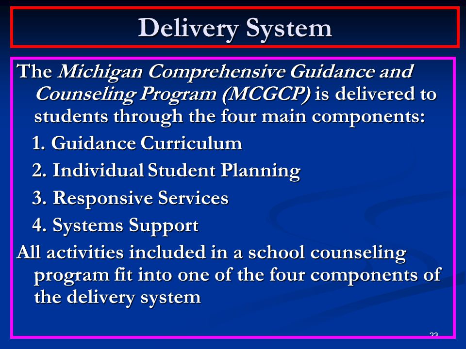 Delivery System The Michigan Comprehensive Guidance and Counseling Program (MCGCP) is delivered to students through the four main components: