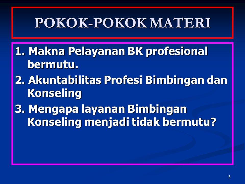 POKOK-POKOK MATERI 1. Makna Pelayanan BK profesional bermutu.