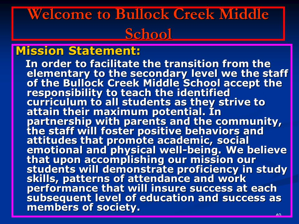 Welcome to Bullock Creek Middle School