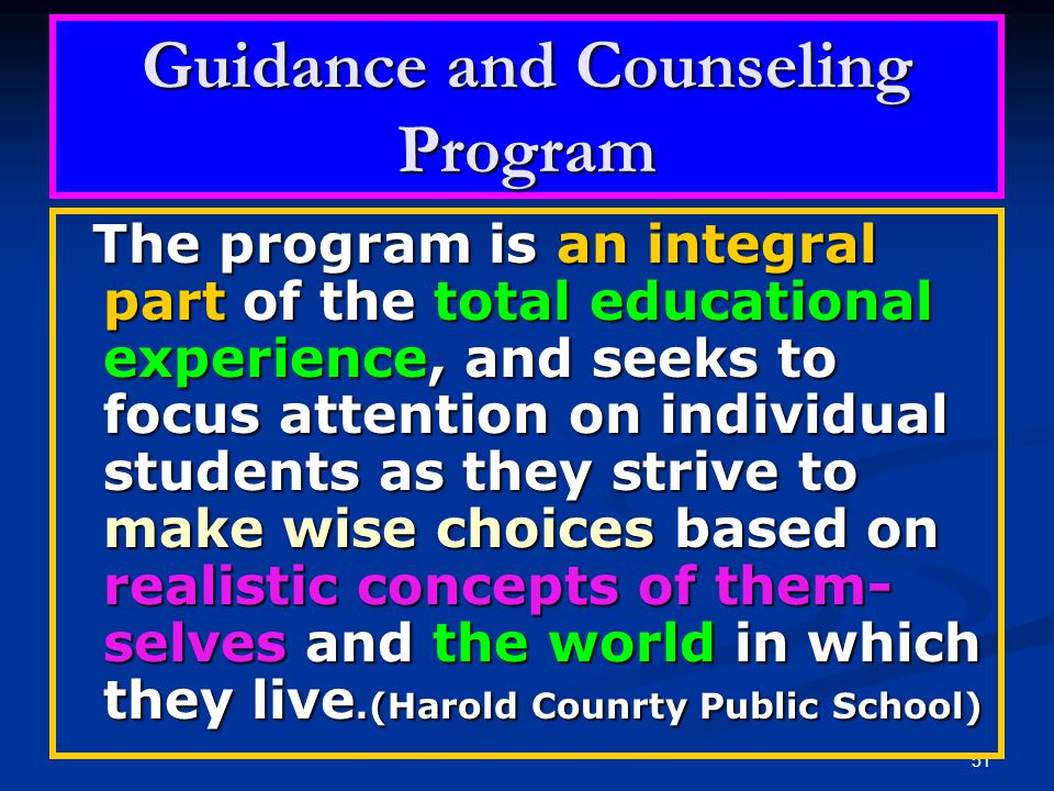 Guidance and Counseling Program