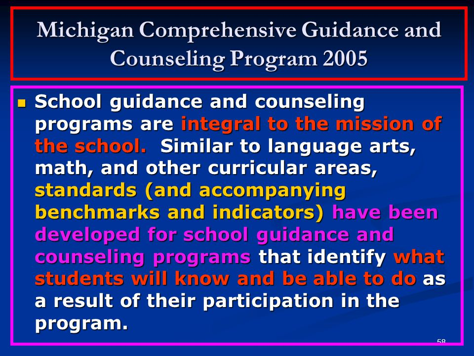 Michigan Comprehensive Guidance and Counseling Program 2005