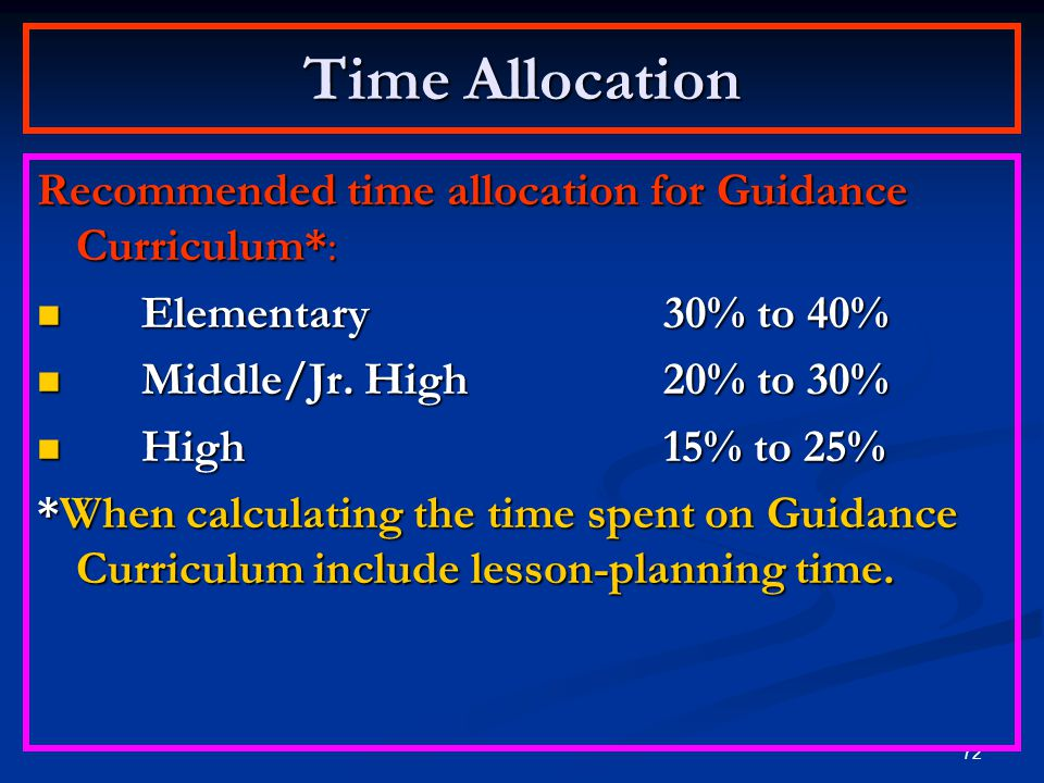 Time Allocation Recommended time allocation for Guidance Curriculum*:
