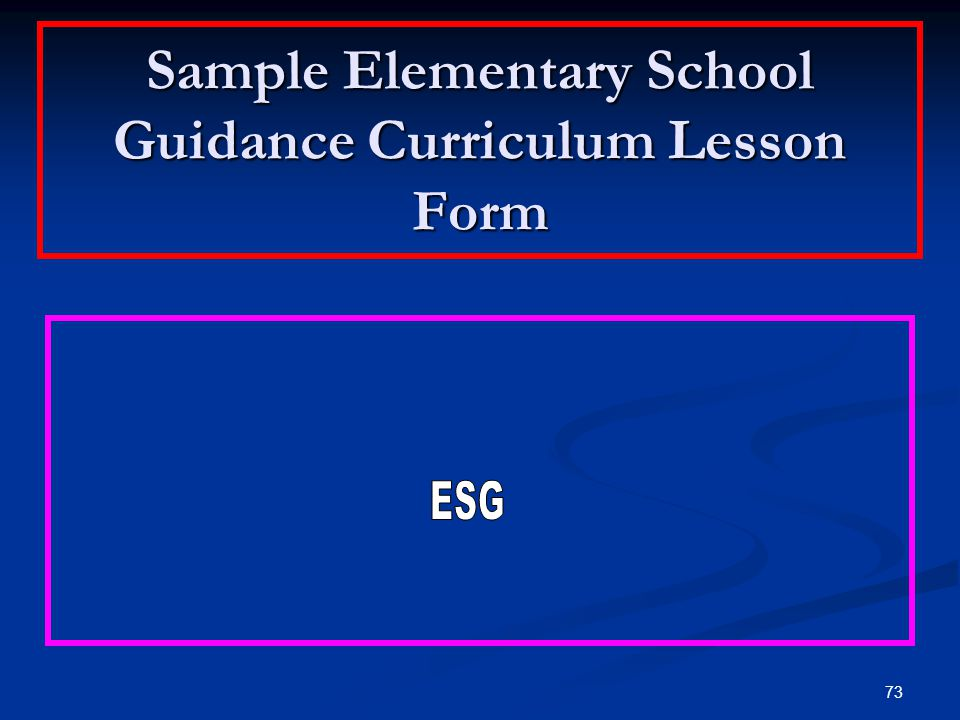 Sample Elementary School Guidance Curriculum Lesson Form