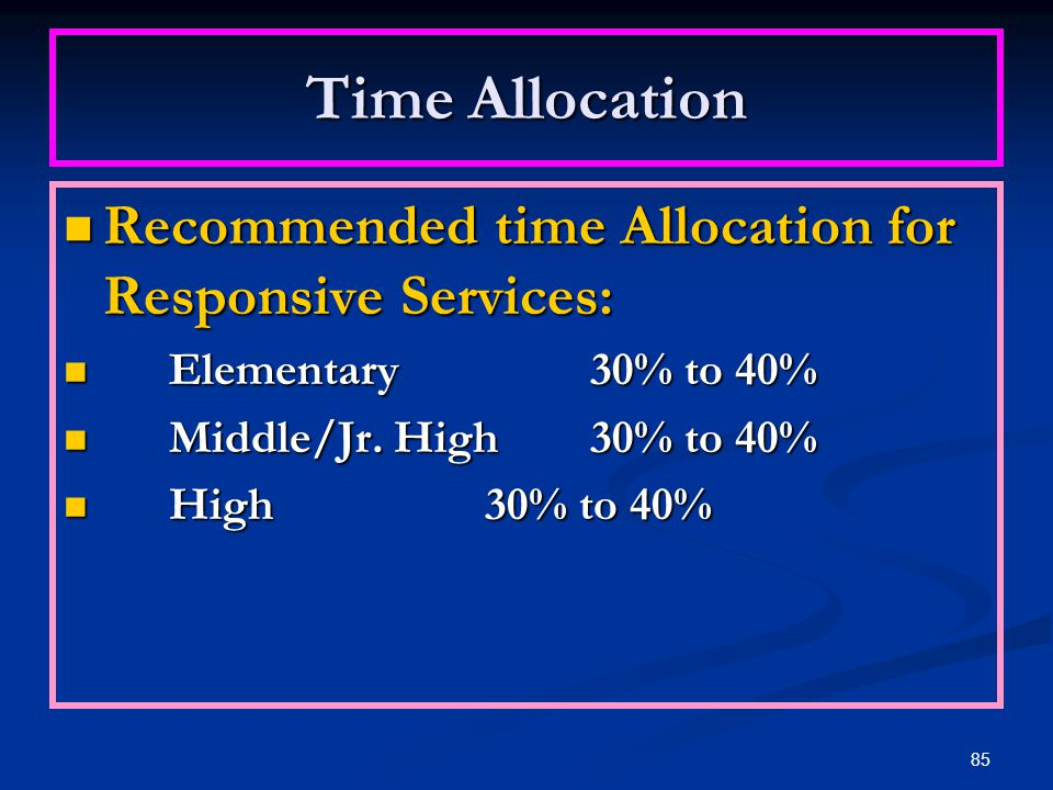 Time Allocation Recommended time Allocation for Responsive Services: