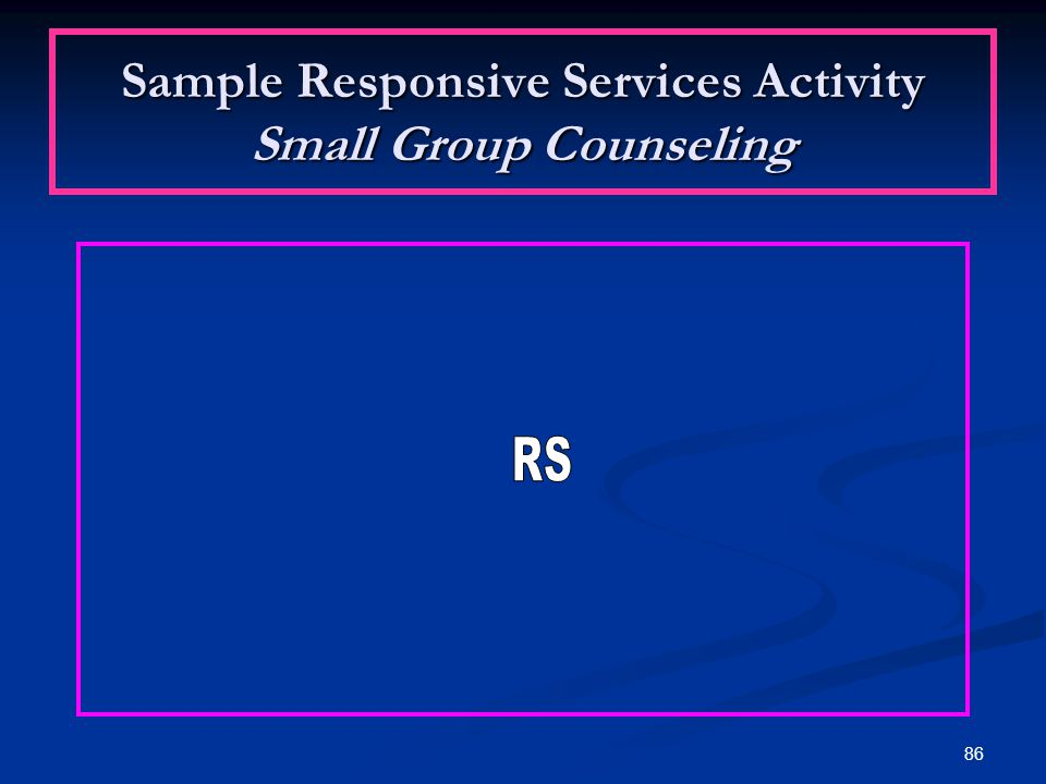 Sample Responsive Services Activity Small Group Counseling