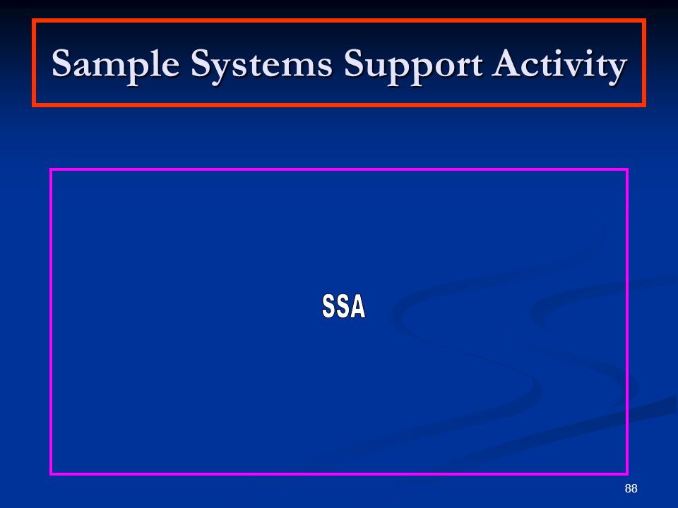 Sample Systems Support Activity