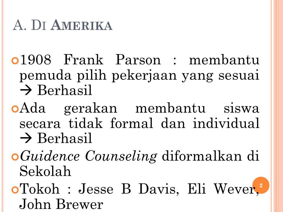 A. Di Amerika 1908 Frank Parson : membantu pemuda pilih pekerjaan yang sesuai  Berhasil.