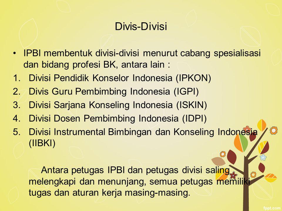 Divis-Divisi IPBI membentuk divisi-divisi menurut cabang spesialisasi dan bidang profesi BK, antara lain :
