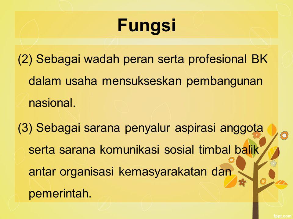 Fungsi (2) Sebagai wadah peran serta profesional BK dalam usaha mensukseskan pembangunan nasional.