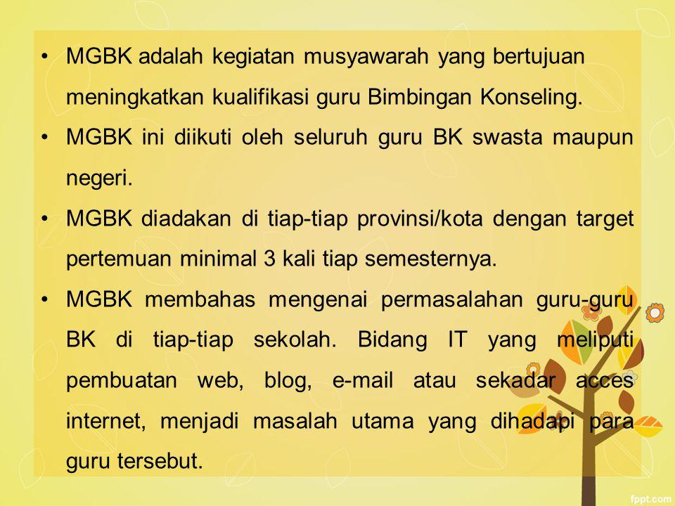MGBK adalah kegiatan musyawarah yang bertujuan meningkatkan kualifikasi guru Bimbingan Konseling.