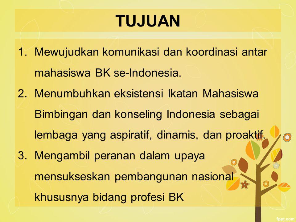 TUJUAN Mewujudkan komunikasi dan koordinasi antar mahasiswa BK se-Indonesia.