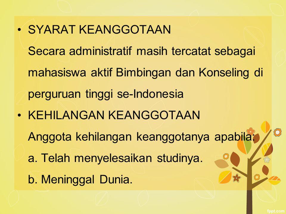 SYARAT KEANGGOTAAN Secara administratif masih tercatat sebagai mahasiswa aktif Bimbingan dan Konseling di perguruan tinggi se-Indonesia