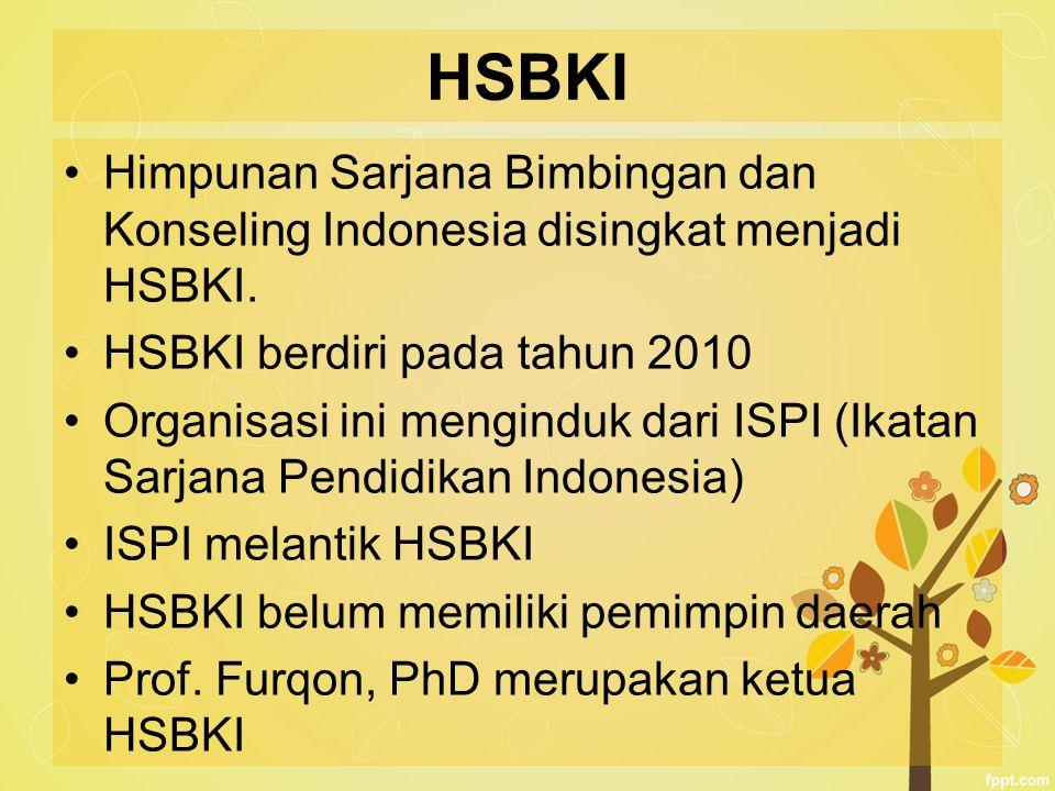 HSBKI Himpunan Sarjana Bimbingan dan Konseling Indonesia disingkat menjadi HSBKI. HSBKI berdiri pada tahun 2010.