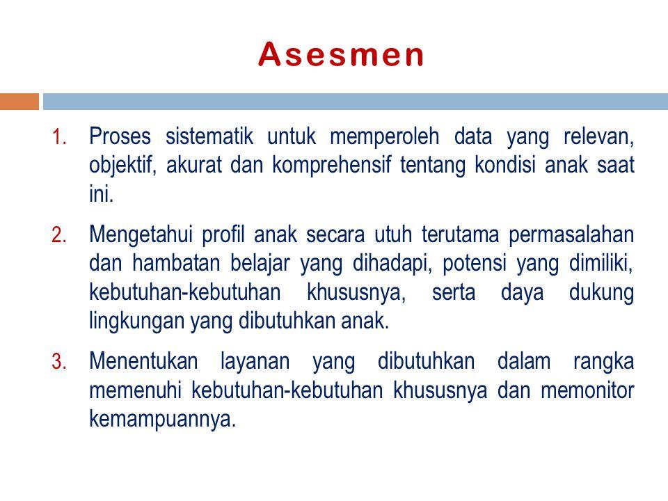 Asesmen Proses sistematik untuk memperoleh data yang relevan, objektif, akurat dan komprehensif tentang kondisi anak saat ini.
