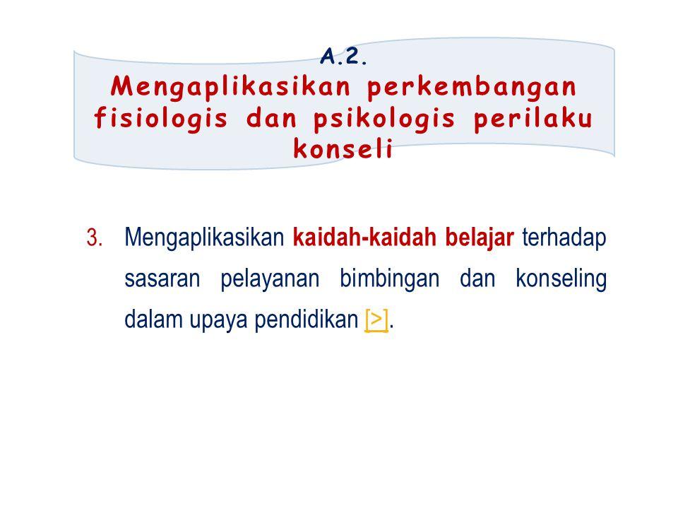 A.2. Mengaplikasikan perkembangan fisiologis dan psikologis perilaku konseli.