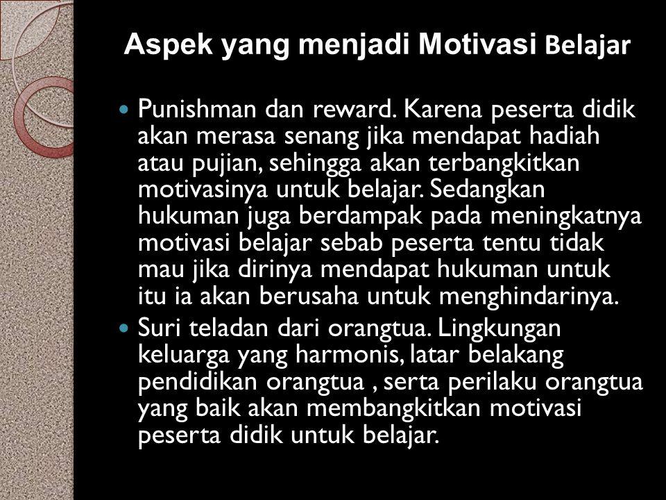 Aspek yang menjadi Motivasi Belajar