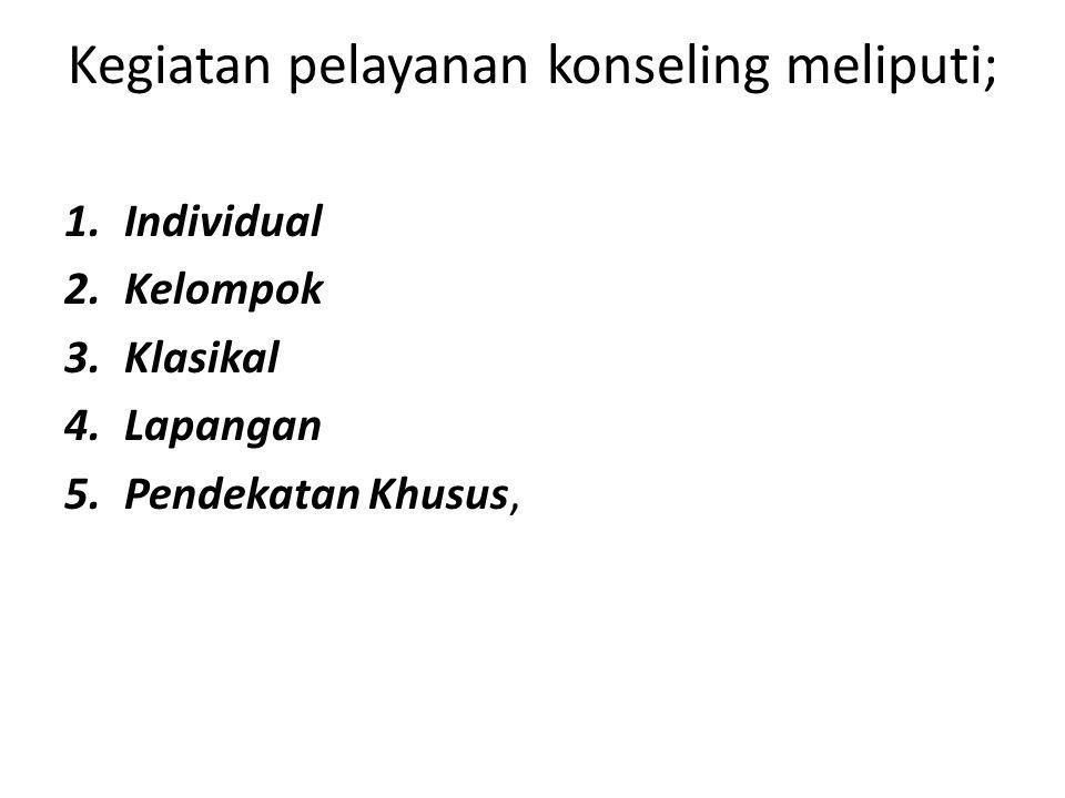 Kegiatan pelayanan konseling meliputi;