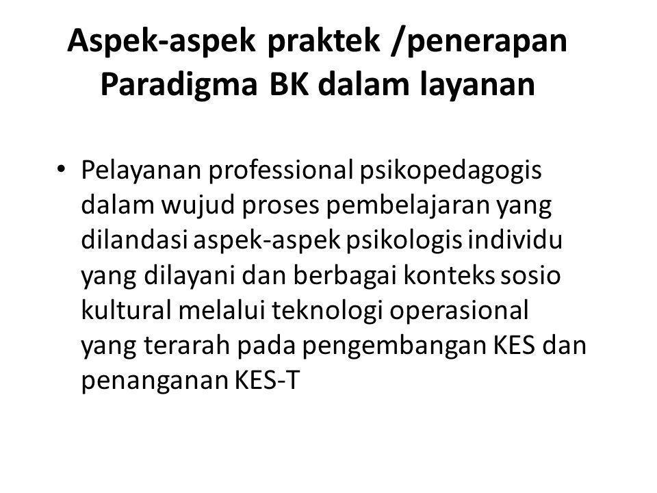 Aspek-aspek praktek /penerapan Paradigma BK dalam layanan
